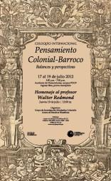 """Coloquio internacional """"Pensamiento Colonial-Barroco"""""""