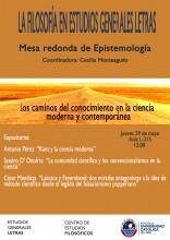 """""""Los caminos del conocimiento en la ciencia moderna y contemporánea"""". Mesa redonda sobre epistemología en el marco del ciclo """"La Filosofía en Estudios Generales Letras"""""""