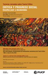 Terceras Jornadas sobre Teoría Crítica: «Crítica y progreso social. Desafíos post- y decoloniales»