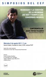 """Conferencia """"Heidegger y la cuestión de la mismidad (de Ser y tiempo a los Cuadernos Negros)"""" de Jesús  Adrián Escudero (Universidad Autónoma de Barcelona)"""