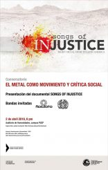 Proyección del documental SONGS OF INJUSTICE y conversatorio EL METAL COMO MOVIMIENTO Y CRÍTICA SOCIAL