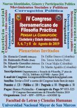 """IV Congreso Iberoamericano de Filosofía Práctica: """"Pensar la corrupción: ciudadanía y Estado democrático"""""""
